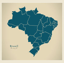 Brazil Modern Map by Ingo Menhard