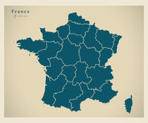 France Modern Map by Ingo Menhard