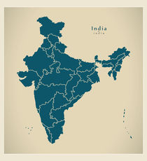 India Modern Map von Ingo Menhard