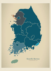 South Korea Modern Map von Ingo Menhard
