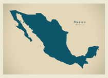 Mexico Modern Map by Ingo Menhard