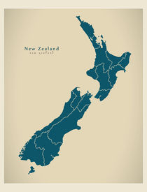 New Zealand Modern Map by Ingo Menhard