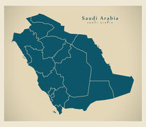 Saudi Arabia Modern Map by Ingo Menhard