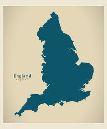 England Modern Map by Ingo Menhard