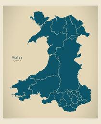 Wales Modern Map by Ingo Menhard