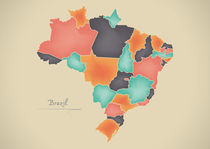 Brazil Map Artwork by Ingo Menhard