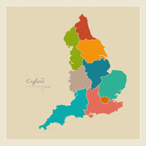 England Map Artwork von Ingo Menhard