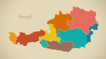 Austria Map Artwork von Ingo Menhard
