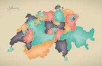 Switzerland Map Artwork von Ingo Menhard