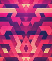Abstract Symertric geometric triangle texture pattern design in diabolic magnet future red by badbugsart