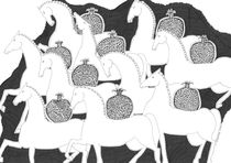 Horses with pomegranates by Elisaveta Sivas
