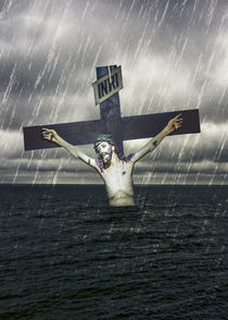 Jesus on the Cross at the Sea Print by Daniel Ferreira Leites Ciccarino