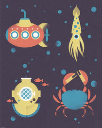 Underwater Submarine Squid Poster  von Benjamin Bay