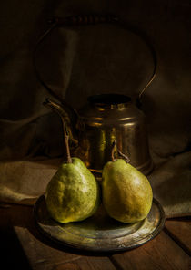 Still life with two pears and copper teapot by Jarek Blaminsky