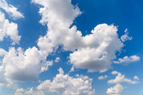 White Cumulus Clouds On Blue Sky von Radu Bercan