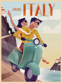 Retro Vintagel Travel Poster Italy by Benjamin Bay