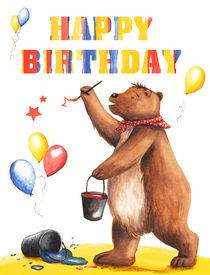 Birthday Bear 1 by Maria Bogade