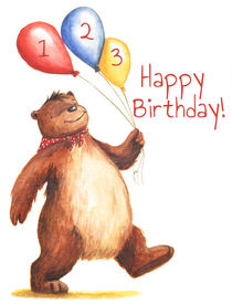 Birthday Bear 2 von Maria Bogade