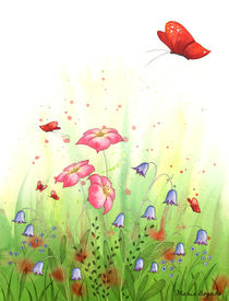 Flowers and Butterflies 1 von Maria Bogade