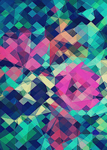 Fruity Rose   Fancy Colorful Abstraction Pattern Design  green pink blue  by badbugsart