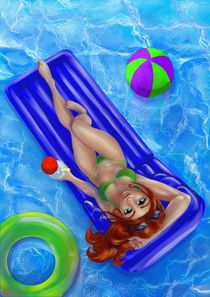 Redhead girl in the swimming pool by Merche Garcia