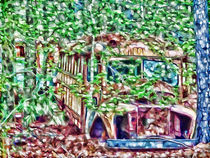Old rusty school bus by lanjee chee