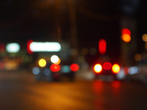 Defocused red and yellow lights on the night the traffic by Vladislav Romensky