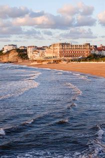 Grande Plage walkway with Luxury Hotel du Palais, beach in Biarritz. Aquitaine, french basque country, France. by Perry  van Munster