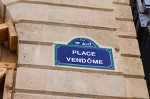 Vintage Parisian street sign of Place Vendome, Paris, France. von Perry  van Munster