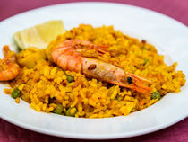 Traditional Valencian Paella With Seafood by Radu Bercan