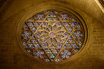 Round Stained Window Glass In Cathedral by Radu Bercan