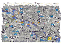 Illustrated map of Berlin-Mitte. Blue by cartoon-city