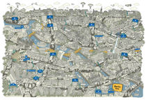 Illustrated map of Berlin-Mitte. Sepia  by cartoon-city