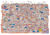 Illustrated map of Berlin-Mitte. Red by cartoon-city