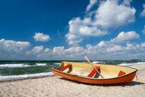Boat on Danish beach by John Stuij