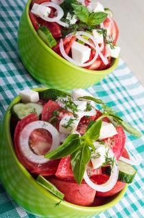 Two portions of useful vegetarian meal closeup von Vladislav Romensky