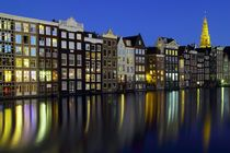 Grachtenhäuser Amsterdam am Abend von Patrick Lohmüller