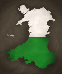 Wales Modern Map Artwork Design von Ingo Menhard