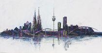 Köln Skyline schwarz von Renate Berghaus