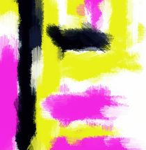 pink yellow and black painting abstract by timla