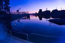 Rheinhafen Karlsruhe Sonnenuntergang - blaue Stunde von Manuel Paul