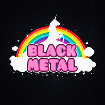 BLACK METAL! (Funny Unicorn / Rainbow Mosh Parody Design) by badbugsart