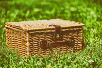 Picnic Basket Hamper With Leather Handle In Green Grass by Radu Bercan