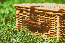 Picnic Basket Hamper With Leather Handle In Green Grass von Radu Bercan
