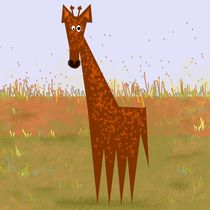 Giraffe on the savannah by Yolande Anderson