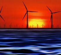 'Wind Farms in the Sunset (Digital Art)' von John Wain