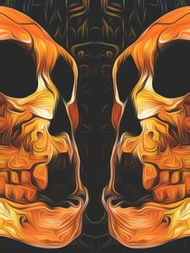 twin orange skull with black background von timla