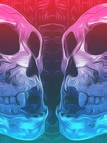 drawing and painting pink and blue skull background von timla