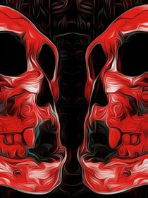 red skull with black background by timla