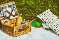 Picnic Basket Food On White Blanket With Pillows In Summer by Radu Bercan